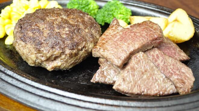 銭場精肉店 - 料理写真:和牛100%ハンバーグとカットステーキ 1980円