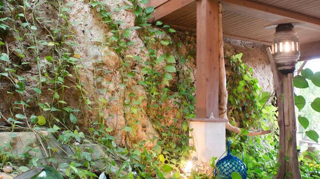 山の茶屋 楽水 - 内観写真:地形を活かし、岩肌がお店の一部になっています