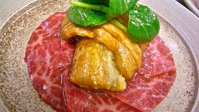 馳走侘助 - 料理写真:蕎麦会席から、神戸牛イチボのカルパッチョ焼き茄子のサラダ添え