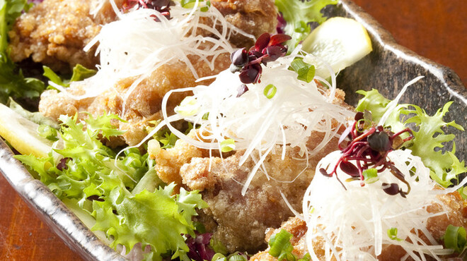 ひだりや - 料理写真:国産地鶏のカリカリ・ジュシー唐揚にネギたっぷりソース