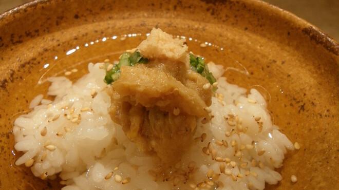 喜の字 - 料理写真:鯛味噌と薬味がのった鯛だし茶漬けはサラっと食べれます