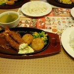 ガスト - ハンバーグ&海老フライ+ライス+スープ