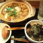 煮込みうどん 二橋 - 牡蠣の味噌煮込みうどん¥1500-・小海老と青混ぜ海苔の焦がし醤油ご飯¥300-