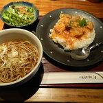 煉 - 日替わりランチ(若鶏のトマト煮込みと温かいお蕎麦)