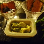 京洛肉料理 いっしん - 3種の前菜:ミノの湯引き・ローストビーフ・内平肉