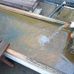 濁河温泉 朝日荘 - 濁河温泉の足湯。動脈硬化や切り傷に効く硫酸塩泉で、鉄のような匂いあり。赤茶の着色が強めに見られる