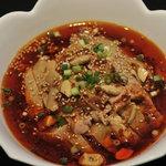 四川DINING 望蜀瀘 - 茹で鶏肉辛ソースかけ 口の中でしびれる美味です。