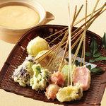 矗々家 - 生麩と具だくさん野菜の豆乳チーズフォンデュ 1380円