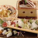 矗々家 - 剣いか一尾づくし~造り・握り・塩辛・天ぷら・炙り焼~ 1980円