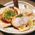 矗々家 - 帆立貝づくし~造り・天ぷら・炙り焼~ 1280円