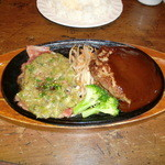 ふらんす亭 - ねぎ塩焼き&ハンバーグ(デミグラスソース) ライス&スープ&サラダ付き 1300円