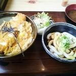 つきよみ食堂 - ミニ伊勢うどん&ミニカツ丼