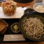 その字 - かきあげおろし + 蕎麦とろろ飯
