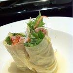 鉄板焼 むさしの 吉祥 - 神戸牛トロ炙り焼きと京野菜の湯葉巻
