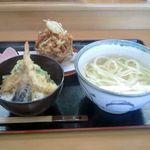 うどん喜多夢楽 - オホーツクかき揚げうどん+ミニ天丼セット