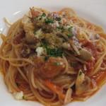 ティアラ - 牛テールとマッシュルームのトマトソーススパゲティ
