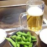 お好み焼き 仁 - 豚玉セット(ビール、枝豆)