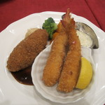 レストラン西櫻亭 - 海老フライとメンチカツのセット