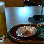 アサヒビール福島工場 - 飲み放題ビール 一番ここがおつまみがありました。燻製かも