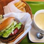 モスバーガー - 料理写真:【2012-01-07】とびきりハンバーグサンド「金のテリヤキ」ポテトSセット