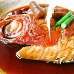 おお田 - 金目鯛の煮魚膳:豪快な金目の煮つけ