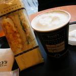 タリーズコーヒー - タマゴ&ツナサンド380円、カプチーノ300円