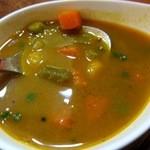 11492990 - サンバルはサラサラスープ状で野菜たっぷり