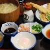 のらや - 料理写真:釜揚げ三昧うどんと穴子の天ぷら盛り合わせ