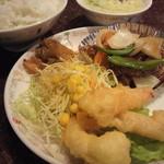 大阪王将 - 酢豚&小海老天ぷら&サラダ&ザーサイ&中華スープ