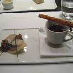 ニューヨーク・グリル - ダックレッグコンフィのラヴィオリが入ったコンソメスープ