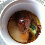 花の宴 - 美味しいフォワグラと、ズッキーニ、皮付きのじゃが芋。。。温泉卵をからめていただきました