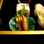 隠れ里車屋 - 前菜:あん肝 ナッツ豆腐 天豆二身 白魚唐揚 煮凝り 小判玉子 干子 角海老 小袖寿司
