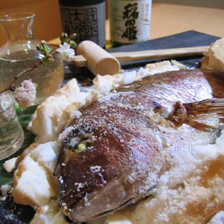 一押しオプション『鯛の塩釜焼4,000円』…お祝いの席に♪