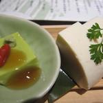 12171473 - 手作り豆腐とピスタチオ豆腐 本わさ 珊瑚塩で