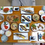 柳瀬温泉 - 夕食(はじめに並んでいた料理)
