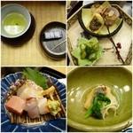 丹巌洞 - 料理写真:お茶と羊羹、先付、向付