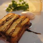 DAZZLE - 三重県産 イワシとジャガイモの温製テリーヌ ベーコンで巻き上げたローズマリー仕立て バルサミコ・ソースとアンチョビのムース(1600円)♥
