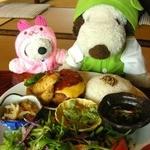 かえるcafe - 日替わりランチ900円。ハンバーグトマトキノコソース、副菜3品、サラダ、ごはん、みそ汁 コーヒー又は紅茶