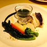 カルミネ - 本日の鮮魚の蒸し焼き グリーンソース添え