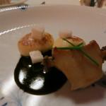 リストランテ ラ・バリック トウキョウ - 蒸しアワビと石川芋のニョッキのソテー  肝とバルサミコのソース