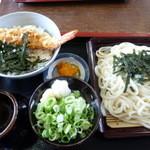 めん処釜文 - ざるうどんとミニ天丼のランチ 980円