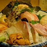 網代一菜 - 刺身の盛り合わせ 一人前1500円(画像は二人前)
