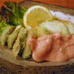 和楽屋 - アボガドの天ぷら明太マヨ580円