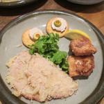 にっぽんの洋食 津つ井 - おつまみセット(ハムカツ・カナッペ・鶏唐)