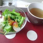 ローズファーム - ランチセットのサラダとスープ