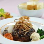 清泉寮本館レストラン - 料理写真:冨士桜ポークとワインビーフのハンバーグステーキ