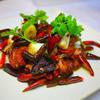 HOI - 料理写真:HOI名物 日向鶏のモモ肉 唐辛子炒め 「辛子鶏塊 ラーズーチー」