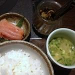 13655609 - ランチにはスープと辛子明太子、高菜がついてます