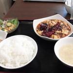 蓮華 - 麻婆豆腐定食 本格的で美味しい 四川のトウガラシが良いね。