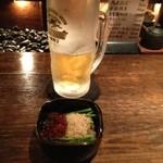 """串房酔"""" - 料理写真:生ビールとお通し。"""